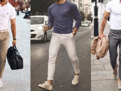شلوار کتان با کفش مردانه گراد